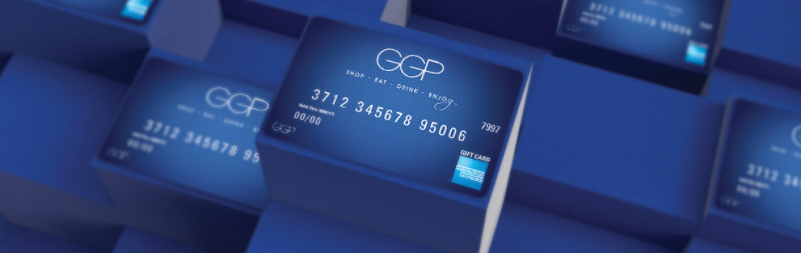 Blue credit cards with GGP logo
